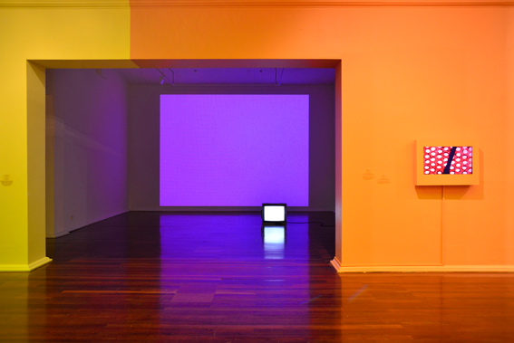 First Amongst Equals II, Perth Institute of Contemporary Arts, exhibition view. (L) Elizabeth McAlpine, Light Reading (Californian Sunset), 2007. (R) Len Lye, A Colour Box, 1935. Photo by Tony Nathan 2